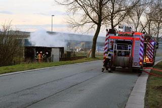 Container gaat in vlammen op