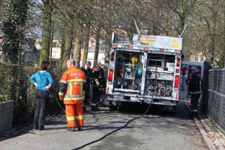 Haagbrand in park te Zwevegem