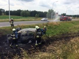 Wevelgem: auto vat vuur op A19