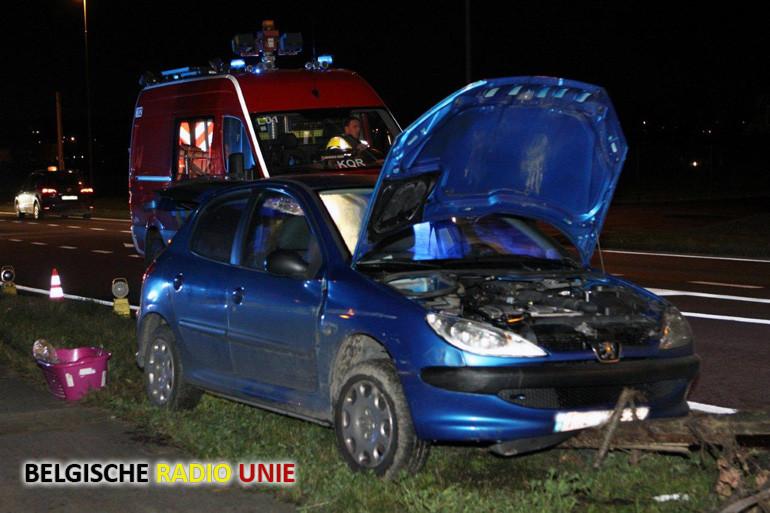 Wagen ramt boompje langs Doornikserijksweg in Bellegem
