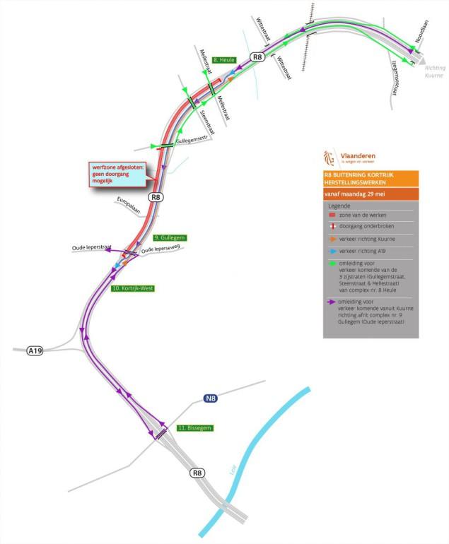 Vanaf 29 mei moeilijke doorgang R8 in Kortrijk wegens werken