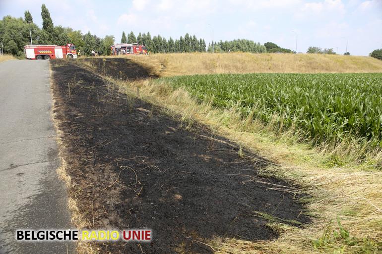 Grasberm vat vuur in Waregem