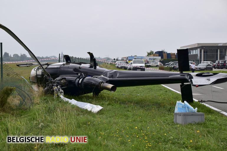 Helikoptercrash aan de rand van het vliegveld van Wevelgem
