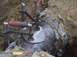Lek in middendruk gasleiding