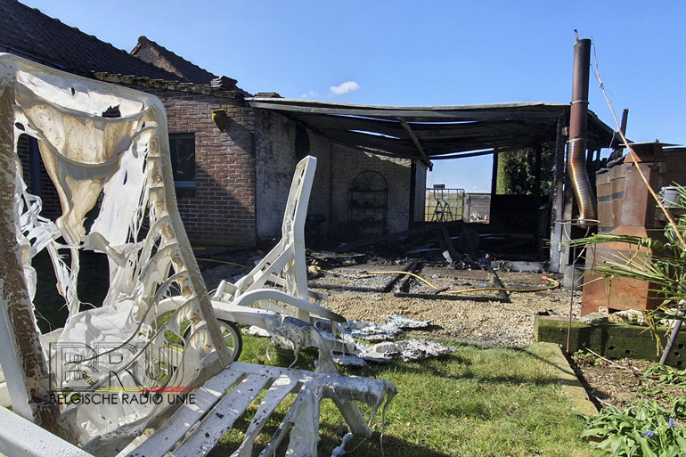 Ontspanningsruimte vernield door brand in Zonnebeke