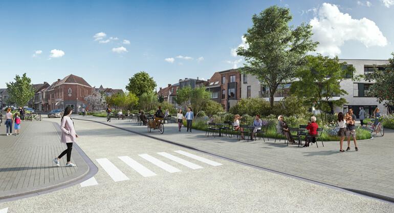 Parking tramsatie wordt na make over een groene oase waar mensen even tot rust kunnen komen. BRU