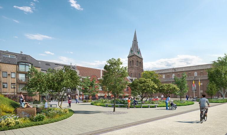 Het Kuurnse marktplein wordt omgevormd tot een plaats waar mensen tot rust kunnen komen.  Daarnaast zal er ook plaats worden voorzien voor evenementen en de wekelijkse markt. BRU