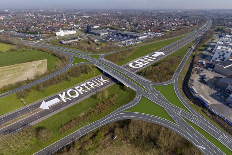 Op- en afrittencomplex E17-N382 in Waregem wordt heringericht tot 'De Vlecht'